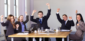 Victory gesture made by 5 business people Royalty Free Stock Images