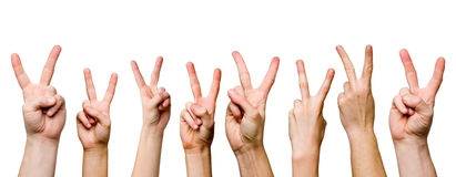 Victory gestures panorama. Against a white background Royalty Free Stock Photo