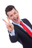 Victory gesturing business man Royalty Free Stock Images