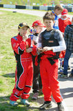 Victory in  go-cart racing Royalty Free Stock Photo