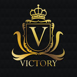 Victory gold emblem design Royalty Free Stock Photos