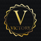 Victory gold emblem design Stock Photo