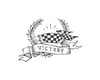 Victory. Hand drawn vector illustration or drawing of a a racing flag, a wreath and a ribbon with the word: Victory vector illustration