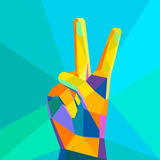 Victory hand geometrical style Royalty Free Stock Photography