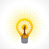 Victory hand make tree inside the bulb Royalty Free Stock Image