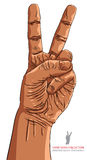 Victory hand sign, detailed vector illustration. Royalty Free Stock Photos