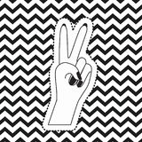 Victory hand sign icon front view sticker on pop art zig zag linear monochrome background. Vector illustration Stock Photos