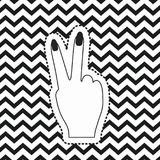 Victory hand sign icon rear view sticker on pop art zig zag linear monochrome background. Vector illustration Royalty Free Stock Image