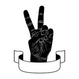 Victory hand sign with ribbon, detailed black emblem Royalty Free Stock Images