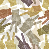 Victory hand signs seamless pattern, vector background for wallp Royalty Free Stock Images
