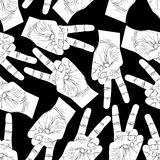 Victory hand signs seamless pattern, vector black and white back Stock Photography