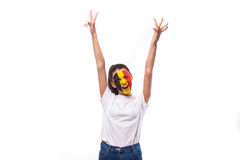 Victory, happy and goal scream emotions of Belgian football fan in game support of Belgium national team on white background. Royalty Free Stock Image