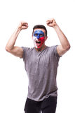 Victory, happy and goal scream emotions of Czech football fan in game support of Czech Republic Royalty Free Stock Photos