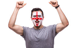 Victory, happy and goal scream emotions of Englishman football fan Stock Photos