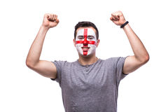 Victory, happy and goal scream emotions of Englishman football fan Stock Images