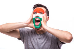 Victory, happy and goal scream emotions of Hungarian football fan in game support of Hungary national team Stock Images