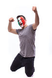 Victory, happy and goal scream emotions of Italian football fan in game support of Italy Royalty Free Stock Image