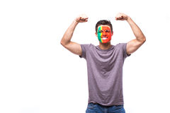 Victory, happy and goal scream emotions of Portuguese football fan in game support of Portugal national team Royalty Free Stock Photos