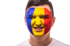 Victory, happy and  goal scream emotions of Romanian football fan in game support of  Romania national team Royalty Free Stock Photos