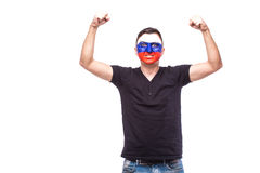 Victory, happy and goal scream emotions of Russian football fan in game support of Russia national team Stock Photos
