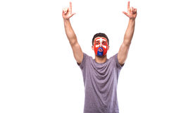 Victory, happy and goal scream emotions of Slovak football fan in game support of Slovakia national team Royalty Free Stock Photos