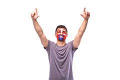 Victory, happy and goal scream emotions of Slovak football fan in game support of Slovakia national team Stock Image