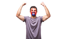 Victory, happy and goal scream emotions of Slovak football fan in game support of Slovakia national team Royalty Free Stock Image