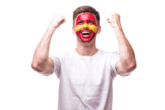Victory, happy and goal scream emotions of Spain football fan in game support Royalty Free Stock Images