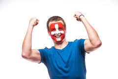 Victory, happy and  goal scream emotions of Swiss football fan in game support of  Switzerland Royalty Free Stock Photo