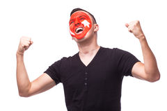 Victory, happy and goal scream emotions of Turk football fan in game support of Turkey Stock Image