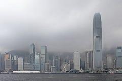 Victory Harbour en tiempo de niebla, Hong Kong Foto de archivo libre de regalías