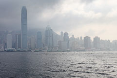 Victory Harbour, Hong Kong. Victory Harbour in Hong Kong in foggy weather. March 2016 stock photo