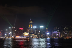 Victory Harbour light show. Hong Kong Royalty Free Stock Photo