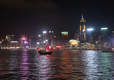 Victory Harbour na noite, Hong Kong Imagens de Stock Royalty Free