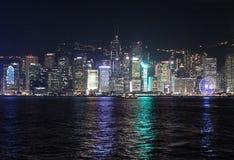 Victory Harbour na noite, Hong Kong Fotografia de Stock Royalty Free