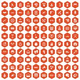 100 victory icons hexagon orange. 100 victory icons set in orange hexagon isolated vector illustration Vector Illustration