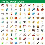 100 victory icons set, cartoon style. 100 victory icons set in cartoon style for any design illustration royalty free illustration