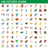 100 victory icons set, cartoon style Stock Photos