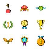 Victory icons set, cartoon style Royalty Free Stock Photos