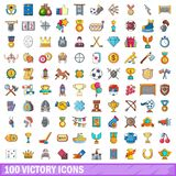 100 victory icons set, cartoon style. 100 victory icons set. Cartoon illustration of 100 victory vector icons isolated on white background Royalty Free Stock Photography
