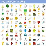 100 victory icons set, flat style. 100 victory icons set in flat style for any design illustration stock illustration