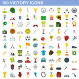100 victory icons set, flat style. 100 victory icons set in flat style for any design vector illustration Stock Illustration