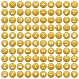 100 victory icons set gold. 100 victory icons set in gold circle isolated on white vector illustration Royalty Free Stock Photography