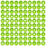 100 victory icons set green. 100 victory icons set in green circle isolated on white vectr illustration Royalty Free Illustration