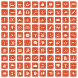 100 victory icons set grunge orange. 100 victory icons set in grunge style orange color on white background vector illustration stock illustration