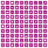 100 victory icons set grunge pink. 100 victory icons set in grunge style pink color isolated on white background vector illustration royalty free illustration