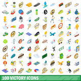 100 victory icons set, isometric 3d style Stock Photo
