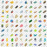 100 victory icons set, isometric 3d style Royalty Free Stock Photo