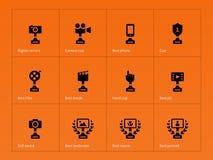 Victory icons set on orange background Stock Photography