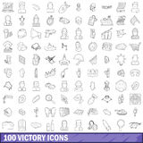 100 victory icons set, outline style. 100 victory icons set in outline style for any design vector illustration Stock Images